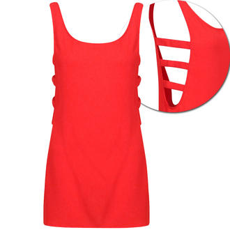 View Item Red Sleeveless Cutout Top
